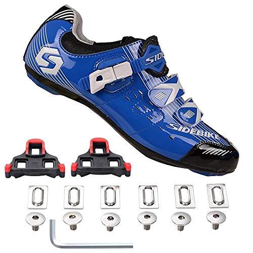Zapatillas de Ciclismo de Fibra de Carbono para el Sistema de Cordones de Velocidad de Perilla de Carrete de Carretera Transpirable - Compatible con Cala de 3 Pernos, cómodo y Ligero