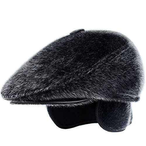 AROVON Boina de invierno de piel sintética con orejeras, gorro de papá, gorro de invierno, cálido para hombres mayores, gorra plana