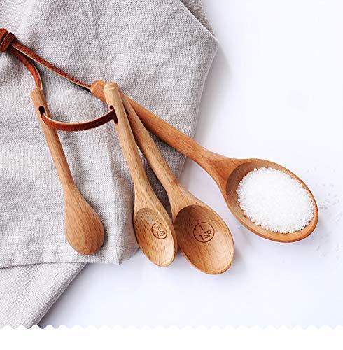 4 Stück Messlöffel Holz Buche Messlöffel Becher Backutensilien Set Küchenwerkzeug beech