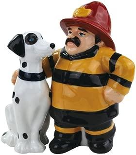 Westland Giftware Mwah Fireman and Dalmatian Magnetic Ceramic Salt and Pepper Set, 3.75-Inch
