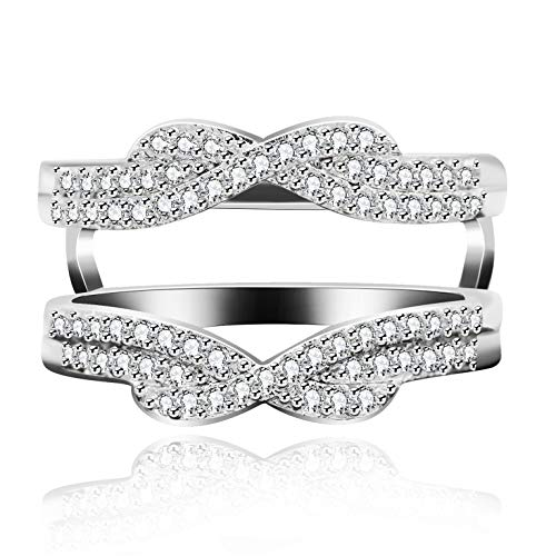 Uloveido Rhodium Plated Double Band Infinity Ring Guard Enhancer Micro Cubic Zirocnia Pave Setting Eternity Bands (Size 6)