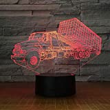 ZWANDP 3D Night Lamp Switch Container Trailer Truck Stereo Atmosphere Creative Table Fixtures USB Gift Gift Niños s Baby Bed Acrylic Gifts Light Led Lamps Lamp del hogar Cumpleaños