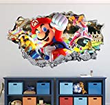 Mario Kart Wall Decal Art Decor 3D Smashed Game Bros Sticker Mural Kids Gift Large HA18 (50' W x 30' H)