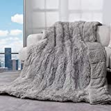 Cottonblue Faux Fur Reversible Sherpa Weighted Blanket 15lbs,Luxury Snugly Long Fur Warm Heavy Blanket 60x80 inches,Super Soft Fuzzy Fleece Blanket for Cold Days,Gray
