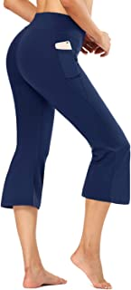 FIRST WAY Buttery Soft Women's Bootcut Yoga Pants Capris with 3 Pockets Lounge Floral Printing