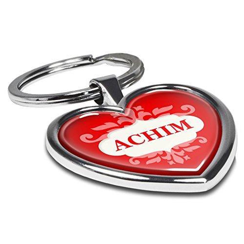 printplanet Schlüsselanhänger mit Namen Achim - Motiv Ornamente - Herz-Schlüsselanhänger, Namensschlüsselanhänger, personalisierter Anhänger, Herz-Anhänger, Chrom