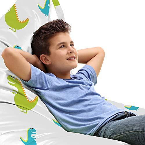 ABAKUHAUS Dino Unicorn Toy Bag Lounger Stuhl, Dinosaurier Tier Cartoon, Hochleistungskuscheltieraufbewahrung mit Griff, Gelb Grün Himmelblau