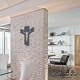 LAS - LASER ART STYLE Crocifisso da Parete Moderno CR16, Legno, Antracite, 30x40 cm...