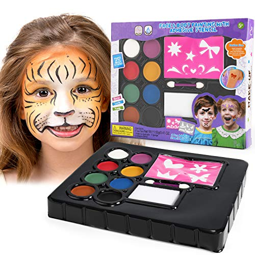 balnore Face Paint Kit, Washable and Professional Palette for Kids Adults with 8 colors, 8 patterns, Brush, for Birthday Halloween party