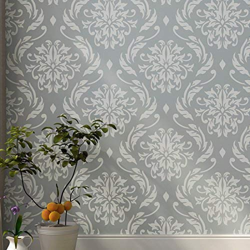"""Lily Blooms Wall Stencil for Painting - Large Size 21.5""""x24"""" - Large Floral Damask Stencil"""