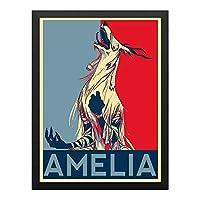 ハンギングペインティング - Bloodborne Propaganda Ameliaのポスター 黒フォトフレーム、ファッション絵画、壁飾り、家族壁画装飾 サイズ:33x24cm(額縁を送る)