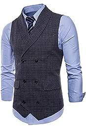 M/&S/&W Men Business Slim Fit Waistcoat Single Breasted Formal Blazer Vest