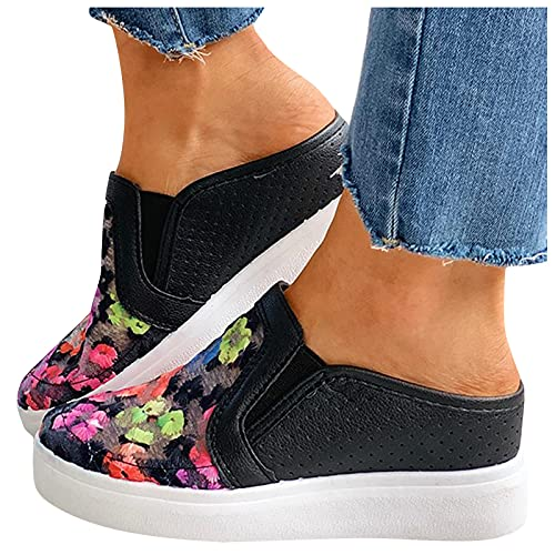 Dasongff Damen Atmungsaktiv Mesh Hausschuhe Retro-Farbe Bestickte Schuhe Hohle Slip on Sandalen Freizeitschuhe Plateaupantoffeln Badeschuhe Slippers Flach Sohle Pantoffeln