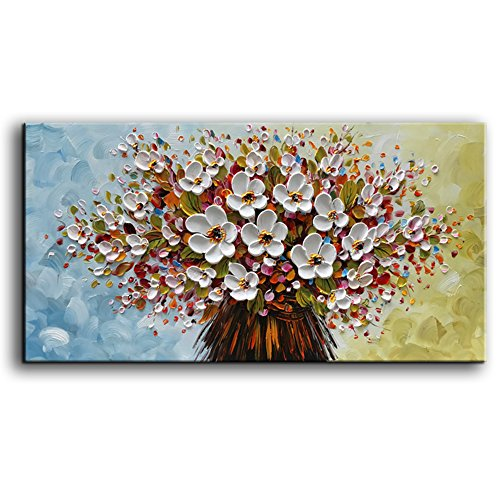 baccow - 3D Oil Paintings, 24x48' Hand-Painted White Flowers Painting Canvas Texture Modern Abstract Framed Wall Art for Living Room