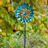 Girandola a vento smeraldo 155 cm (61 pollici) Girandola a vento cinetico a pala singola facile da girare per esterni - Scultura verticale in metallo con paletti per esterni Prato e giardino