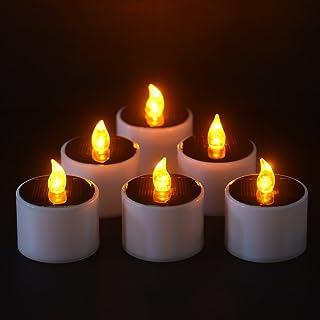 Lot de 6 Bougies Solaire à LED Bougies Chauffe-plats Sans Flamme Réaliste et Bright pour Votive Table Party Anniversaire M...