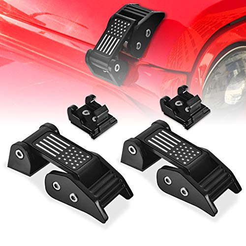 Adust Aluminum Hood Latches Catch Kit with US Flag Style for 2007-2018 Jeep Wrangler JK JKU Unlimited & 2018-2020 Jeep Wrangler JL JLU, Jeep Wrangler Accessories Parts (Black)
