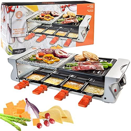 MasterChef Parrilla de mesa de raclette de queso doble con placa de parrilla antiadherente y piedra de cocción, cocina eléctrica de mesa de lujo para 8 personas; derrite queso y...