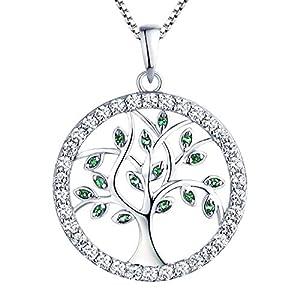 YL Damen Lebensbaum Anhänger mit Kette 925 Sterlingsilber Simulierter Smaragd/Zirkonia Baum des Lebens Anhänger Halskette für Damen Mutter, Kettenlänge 45-48 CM
