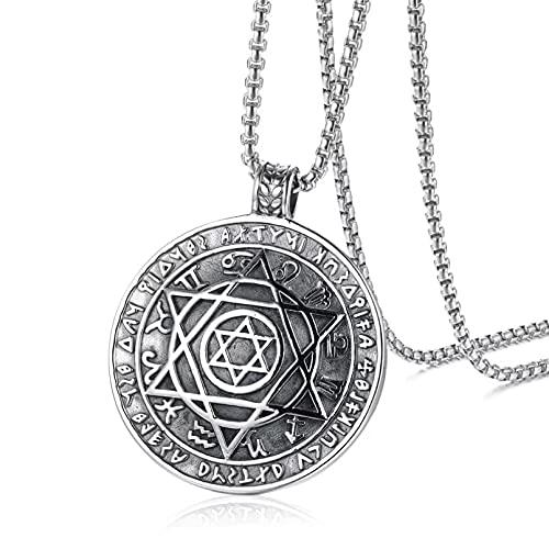 Chenfeng Collar de Hombre Colgante de Metal Vintage para Hombre Amuleto de Salomón de Estrella de Seis Puntas joyería clásica Regalo para Esposo y Novio
