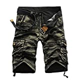 Summer Men Shorts Cargo Camo Slim Fit Lightweight Work Outdoor Beach Casual Shorts Pants with Pocket (32, Yellow)