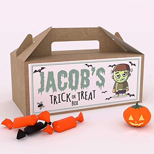 Shopsharks Personalised Halloween Candy Box Kids Party Gift Pumpkin Frankenstein Zombie Witch (Frankenstein)
