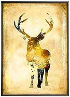 GXZZトリプルフレスコ、エルクハンギングペインティングリビングルームバックグラウンド装飾絵画モダンノルディック(サイズ:40cmx60cm)