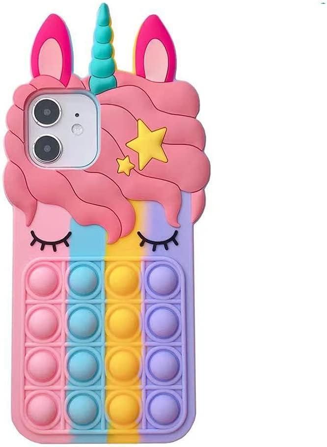 iPhone 12/12 Pro Case, Allkwookry Push Pop Bubble Fidget Toy 3D Animation Design Silicone Mobile Case, Suitable for iPhone 12/12 Pro Mobile Phone .(6.1) (Melody Color)