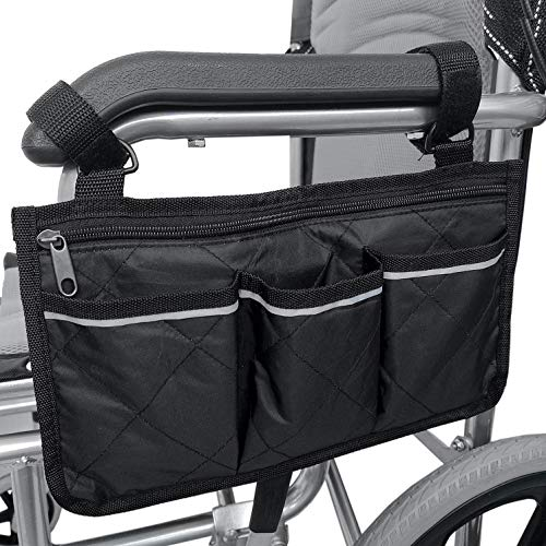 Rollstuhl Tasche,Wasserdichte Rollstuhltasche Armlehne mit Reflektierenden Streifen Rollstuhl Aufbewahrungs Organizer Halter f¨¹r Wanderer, Rollator, Rollstuhl Schwarz