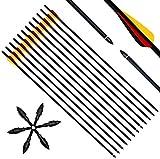 Narchery Tiro con Arco Flechas y Saetas, 31' Pulgadas Arcos y Flechas para Caza o práctica, Incluye Flechas reemplazos, Tres vanes plásticos, Hecho en Carbono Mixta, Tres Colores Multi, 12 pcs