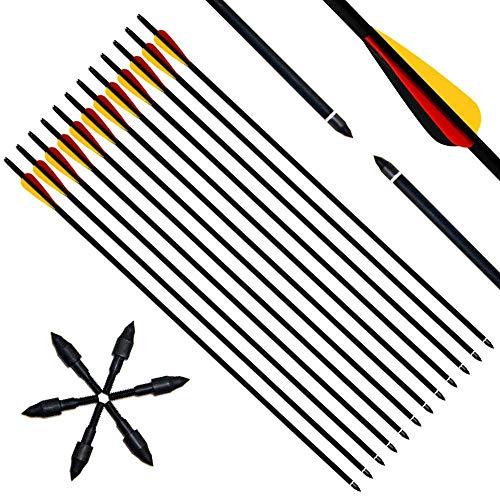 Narchery 12 Stück Pfeile, 31 Zoll Carbonpfeile Bogenpfeile mit Kunststoffbefiederung für Bogen, Recurvebogen, Langbogen und traditionellen Bogen