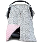 2 in 1 Carseat Canopy and Nursing Cover Up with Peekaboo Opening   Large Infant Car Seat Canopy for Girl   Best Baby Shower Gift for Breastfeeding Moms   Grey Damask Pattern with Soft Pink Minky