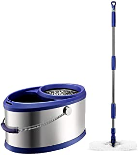 ZKS-KS モップとバケツクリーニングセット回転可能Hangable一つの指圧デザイン家電ブルー頭* 2 家庭用モップセット