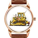Reloj de pulsera para hombre, de cuarzo, impermeable, de piel, color marrón