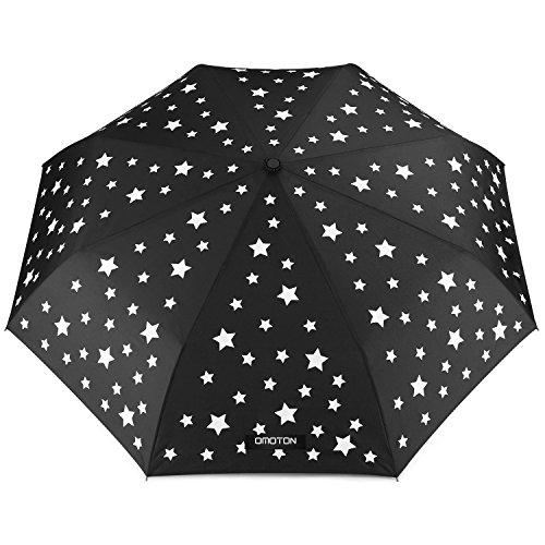 OMOTON Paraguas Plegable Automático de Viaje, Decoloración de Estrellas Paraguas - Plegable Negro