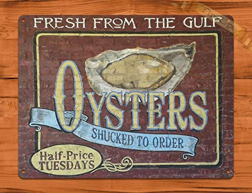 SIGNCHAT Tin Sign Oyster Brick Louisiana Seafood Kitchen Rustic Wall Decor Metal Poster Wall Art Decor Tin Sign 8X12 Inches