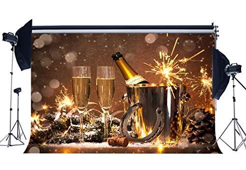Haosphoto HS52 Hintergrund für das Neue Jahr 2020, 17,8 x 152,4 cm, Vinyl, für Champagner, Glücksbringer, Hufeisen, Flaschen, Eimer, Bokeh Fotografie, Hintergrund für Silvester