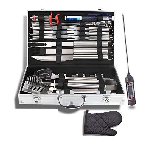 Set di utensili per barbecue 32PCS, kit di accessori per barbecue professionale con guanti da barbecue, set di utensili per barbecue in acciaio inossidabile di alta qualità e custodia per il trasporto