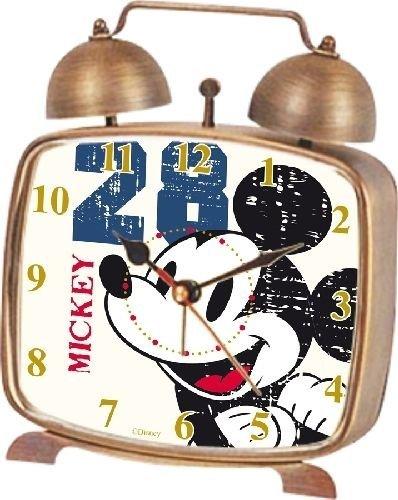 Reloj Despertador MICKEY WD-7371 Letras Cuadrado Sonido Campana METALICO Bronze