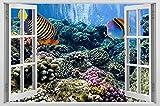 HAOJ pez bajo el agua habitación de niños 3D pegatina de pared calcomanía Mural diseño para el hogar acuario pegatinas de pared creativas regalo de cumpleaños 50x70cm