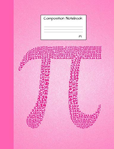 Pi Composition Notebook: Half Graph Paper, half blank pages to write in for school, take notes, for engineering students, math teachers, homeschool, glossy pink 3.14 Cover