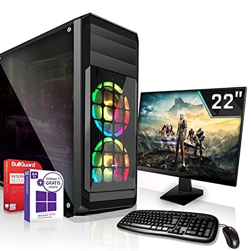 Gaming PC Komplett Set/Multimedia Computer inkl. Win 10 Pro 64-Bit! - Hexa-Core Intel Core i5-10500 6X 4.5 GHz Turbo - NVIDIA GeForce GTX 1050 Ti mit 4GB GDDR5-22-Zoll TFT Monitor - 8GB DDR4