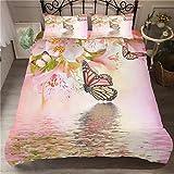 Bettbezug Bettwäsche Set, Morbuy 3D Schmetterling Drucken Bettwäsche-Set Deluxe Mikrofaser Mädchen Weiche mit Reißverschluss Bettbezug und Kissenbezüge (135x200cm -2pcs,Flusswasser)
