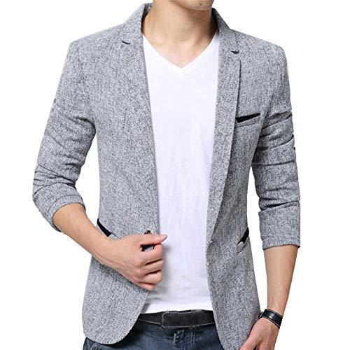 Hombres Chaquetas De Traje Y Americanas Informal Business Casual Blazer Slim Fit Gris M