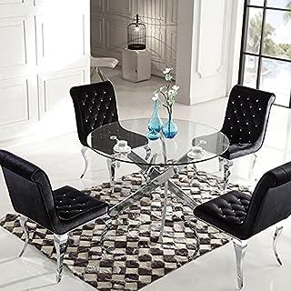 Meubler Design Table à Manger Ronde en Verre Crosi