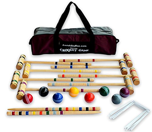 8-Player Deluxe Amish Crafted Croquet Game Set with Carry Bag (33' Mallet Length)