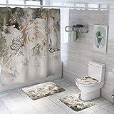 AXJX Duschvorhang Badematte Set 4-teiliger Toilettendeckel Badboden Teppichdeckel Toilettendeckel Badmatte Badvorhang