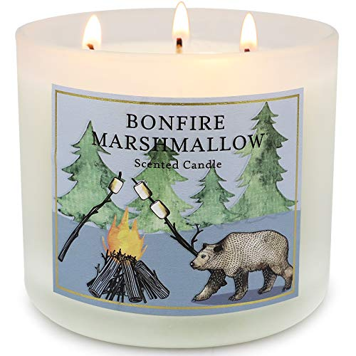 Large Jar Candles for Home Scented, Bonfire Marshmallow Natural Soy Candle 14.6oz 3 Wick Scented Candle, 125H Long Lasting Candles Gifts for Women
