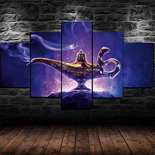 cuadro en lienzo impresión de 5 piezas - Enmarcado y listo para colgar Lámpara Aladdin Genie 150x80cm