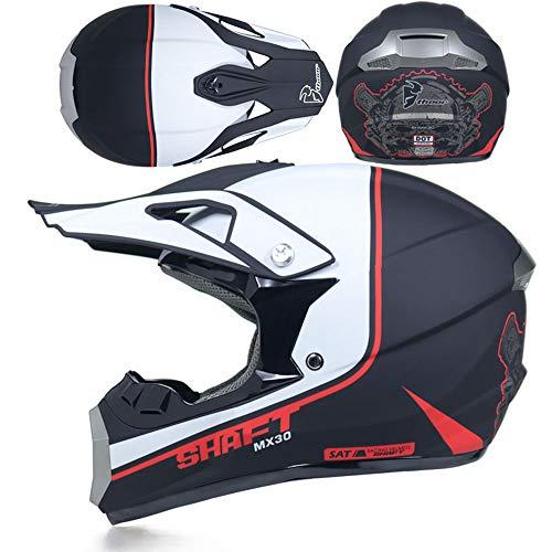 GWJ Motocross Helm Off Road Motorradhelm ATV Cross DOT Helme Motorrad Crossbike Enduro Sport mit Handschuhen Sturmmaske und Brille 58-59CM (6 Style),Bordinary,L